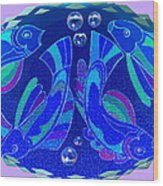 Celtic Fish On Blue And Lavender Wood Print