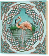 Celtic Flamingo Art Wood Print
