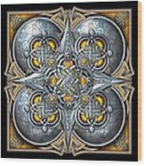 Celtic Hearts - Gold And Silver Wood Print by Richard Barnes
