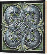 Celtic Hearts - Green And Silver Wood Print