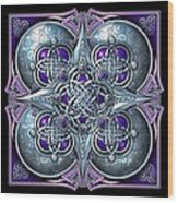 Celtic Hearts - Purple And Silver Wood Print by Richard Barnes