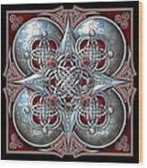 Celtic Hearts - Red Wood Print