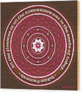 Celtic Lotus Mandala In Pink And Brown Wood Print