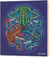 Celtic Mermaid Mandala Wood Print