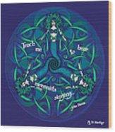 Celtic Mermaid Mandala In Blue And Green Wood Print