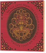 Celtic Pagan Fertility Goddess In Red Wood Print