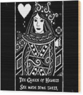 Celtic Queen Of Hearts Part I In Black And White Wood Print