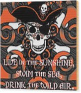 Celtic Spiral Pirate In Orange And Black Wood Print