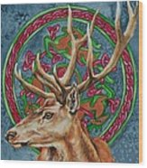 Celtic Stag Wood Print
