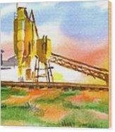 Cement Plant Across The Tracks Wood Print by Kip DeVore