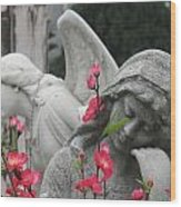 Cemetery Stone Angels And Flowers Wood Print