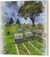 Cemetery Clouds Wood Print