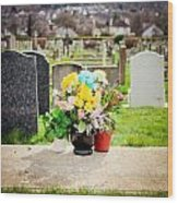 Cemetery Flowers Wood Print