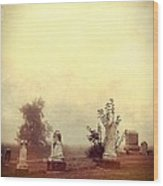 Cemetery In The Fog Wood Print