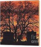 Cemetery Sunset Wood Print