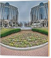 Center Fountain Piece In Piedmont Plaza Charlotte Nc Wood Print