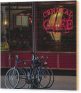 Central Cafe Bicycles Wood Print