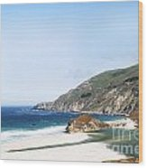 Central Coast Beach Near Cambria And San Simeon Wood Print by Artist and Photographer Laura Wrede