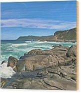 Central Coast Ca Ocean Waves Crashing On Rocks  4 Wood Print