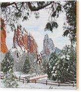 Central Garden Of The Gods After A Fresh Snowfall Wood Print by John Hoffman