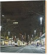 Central Melbourne Street At Night In Australia Wood Print