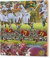 Central Michigan Football Collage Wood Print