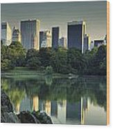 Central Park Lake Looking South Wood Print