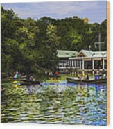 Central Park Boathouse Wood Print