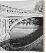 Central Park Bridges Bow Bridge Spanning Lake Wood Print