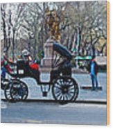Central Park Horse Carriage Station Panorama Wood Print