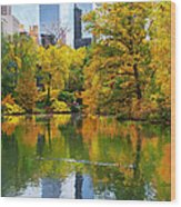 Central Park Pond Autumn Reflections Wood Print