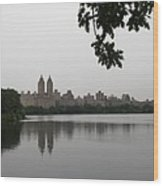 Central Park Reservoir With Reflection Nyc Wood Print