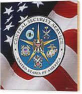 Central Security Service - C S S Emblem Over American Flag Wood Print