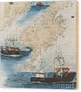 Centurion Trawl Fishing Boat Nautical Chart Art Wood Print