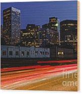 Century City Skyline At Night Wood Print