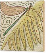 Ceramic Dragonfly Wood Print by Anna Skaradzinska