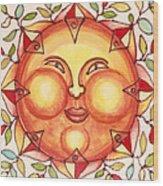 Ceramic Sun 2 Wood Print by Anna Skaradzinska