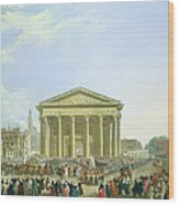 Ceremony Of Laying The First Stone Of The New Church Of St. Genevieve In 1763, 1764 Oil On Canvas Wood Print