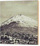 Cerro Rico Potosi Black And White Vintage Wood Print