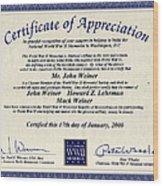 Certificate Of Appreciation Wood Print
