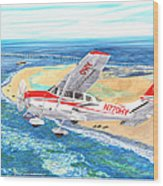 Cessna 206 Flying Over The Outer Banks Wood Print