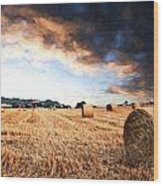 Cezanne Style Digital Painting Beautiful Golden Hour Hay Bales Sunset Landscape Wood Print