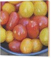 Cezanne Style Digital Painting Fresh Juicy Heirloom Tomatoes In Rustic Setting Wood Print