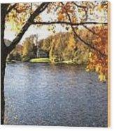 Cezanne Style Digital Painting Lake Landscape Autumn Fall Wood Print