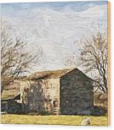 Cezanne Style Digital Painting Panorama Landscape Traditional Stone Barn In Autumnal Countrysid Wood Print