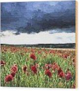 Cezanne Style Digital Painting Stunning Poppy Field Landscape In Summer Sunset Light Wood Print