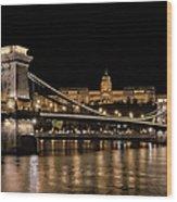 Chain Bridge And Buda Castle Winter Night Wood Print