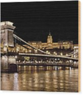 Chain Bridge And Buda Castle Winter Night Painterly Wood Print