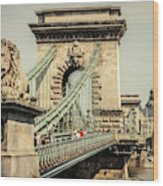 Chain Bridge Crossing The Danube River Wood Print