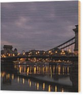 Chain Bridge Dawn Wood Print